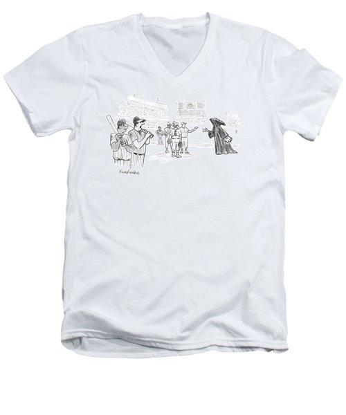 The Grim Reaper Is A Relief Pitcher Men's V-Neck T-Shirt