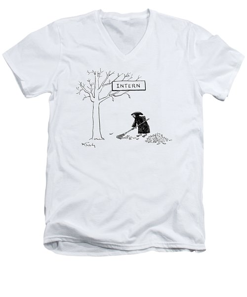 The Grim Reaper Rakes Up A Pile Of Leaves Men's V-Neck T-Shirt