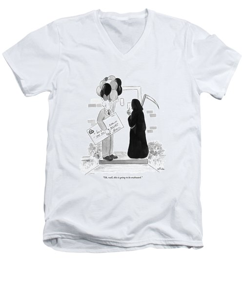 The Grim Reaper Rings A Doorbell At The Same Time Men's V-Neck T-Shirt