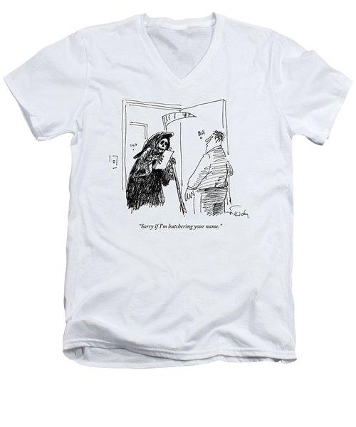 The Grim Reaper Stands In The Doorway Of A Man's Men's V-Neck T-Shirt