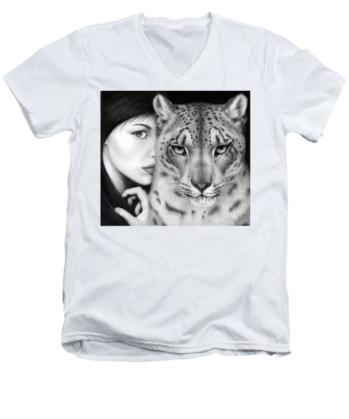Men's V-Neck T-Shirt featuring the painting The Guardian by Pat Erickson