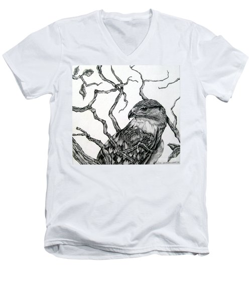 Men's V-Neck T-Shirt featuring the drawing The Hawk by Alison Caltrider