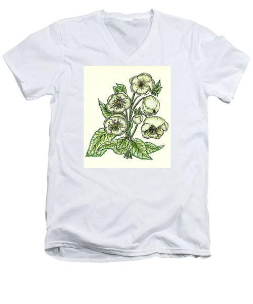 Men's V-Neck T-Shirt featuring the drawing The Helleborous by VLee Watson