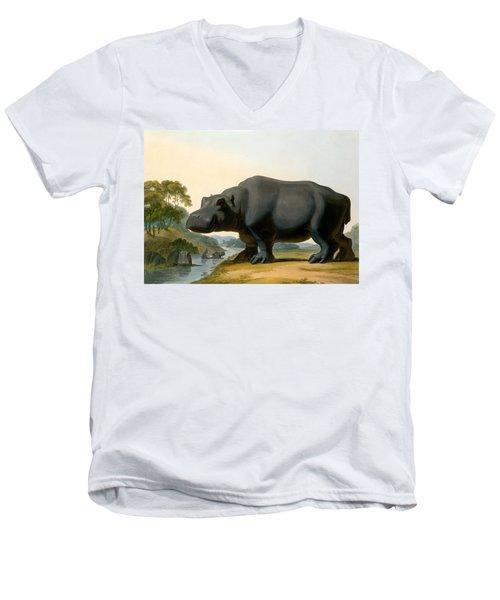 The Hippopotamus, 1804 Men's V-Neck T-Shirt by Samuel Daniell