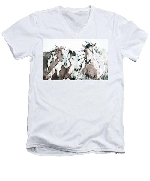 The Horse Club Men's V-Neck T-Shirt by Athena Mckinzie