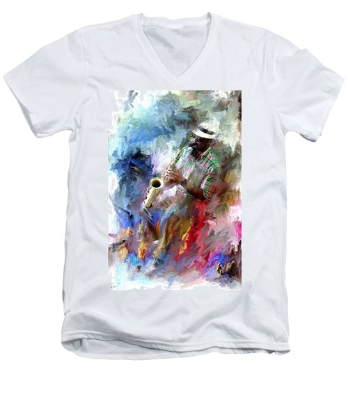 The Jazz Player Men's V-Neck T-Shirt