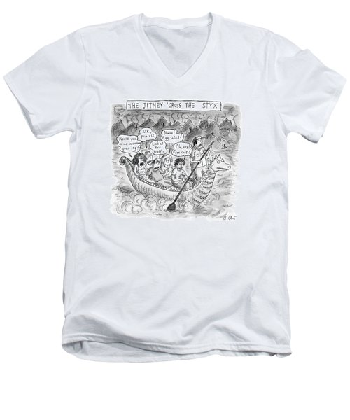 The Jitney 'cross The River Styx A Group Men's V-Neck T-Shirt