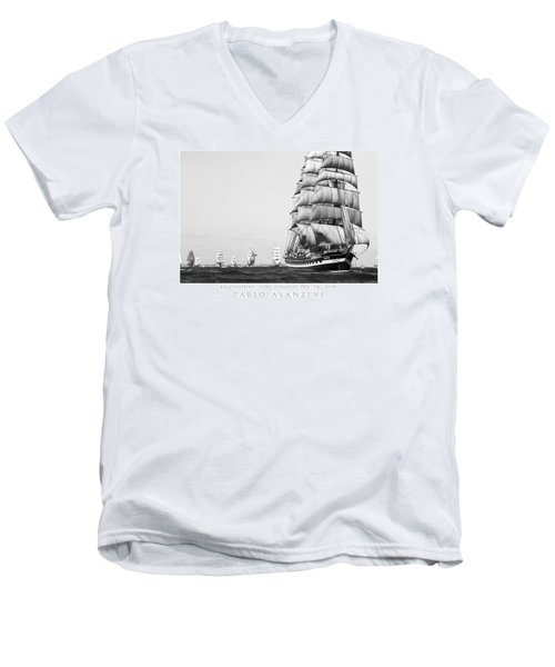 The Kruzenshtern Departing The Port Of Cadiz Men's V-Neck T-Shirt