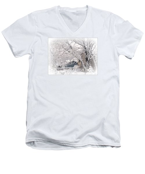 Men's V-Neck T-Shirt featuring the photograph The Last Snow Storm by Kay Novy