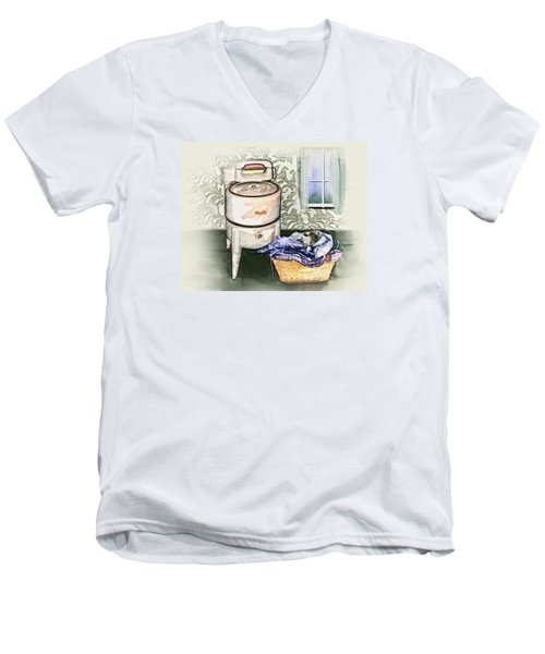 Men's V-Neck T-Shirt featuring the digital art The Laundry Room by Mary Almond