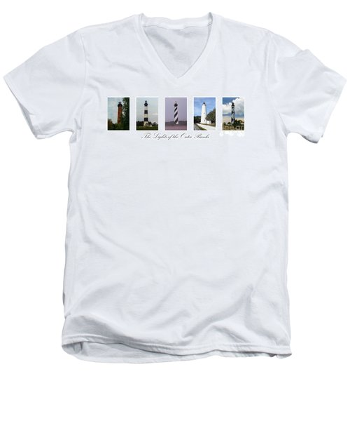 The Lights Of The Outer Banks Men's V-Neck T-Shirt by Tony Cooper