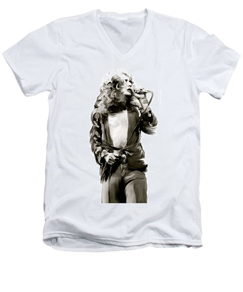 The Lion  Robert Plant Men's V-Neck T-Shirt by Iconic Images Art Gallery David Pucciarelli