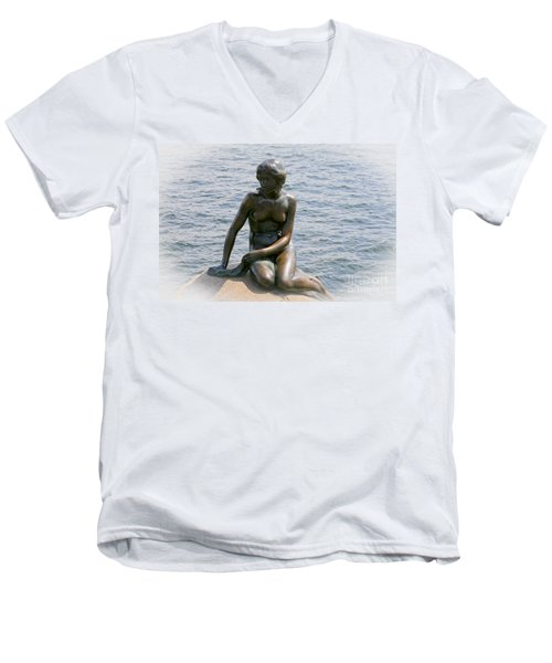 Men's V-Neck T-Shirt featuring the photograph The Little Mermaid Of Copenhagen by Victoria Harrington