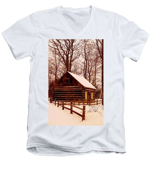 The Log Cabin At Old Mission Point Men's V-Neck T-Shirt by Daniel Thompson