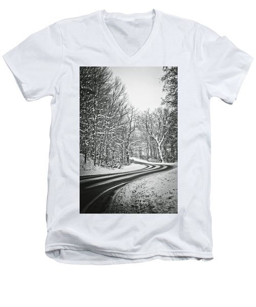 The Long Road Of Winter Men's V-Neck T-Shirt by Sara Frank
