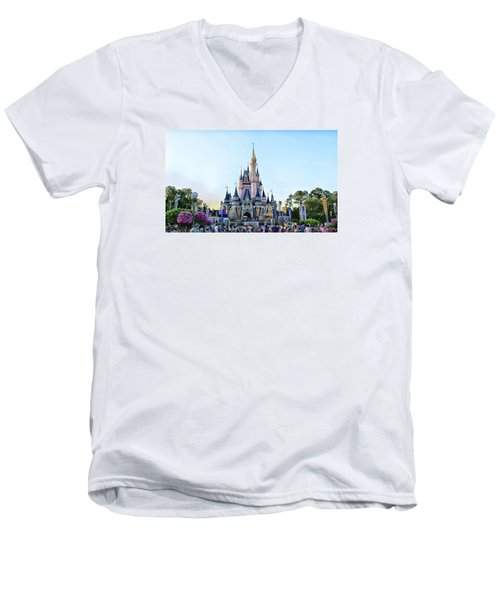 The Magic Kingdom Castle On A Beautiful Summer Day Horizontal Men's V-Neck T-Shirt by Thomas Woolworth