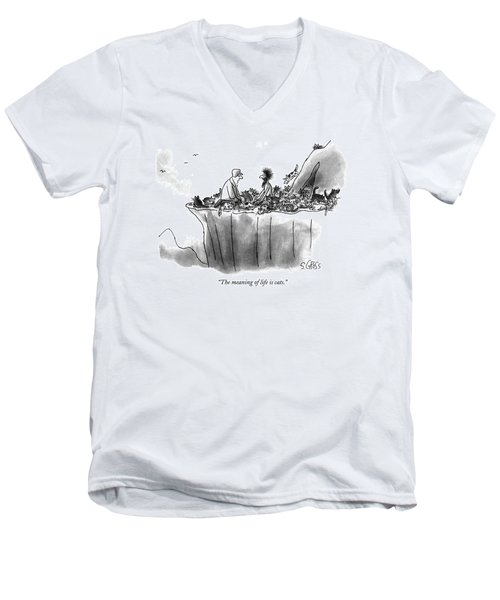 The Meaning Of Life Is Cats Men's V-Neck T-Shirt