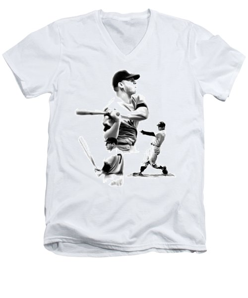 The Mick  Mickey Mantle Men's V-Neck T-Shirt by Iconic Images Art Gallery David Pucciarelli
