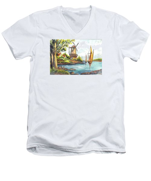 The Olde Mill Men's V-Neck T-Shirt by Carol Wisniewski
