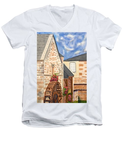 The Old French Mill Watercolor Art Prints Men's V-Neck T-Shirt