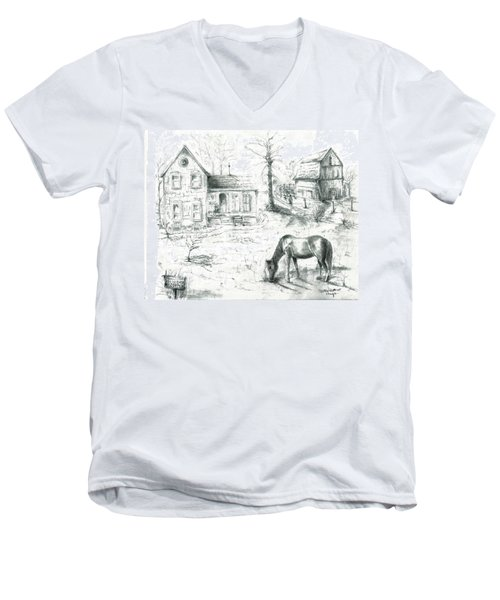 The Old Horse Farm Men's V-Neck T-Shirt by Bernadette Krupa