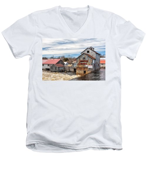 The Old Mill And The Raging River Men's V-Neck T-Shirt