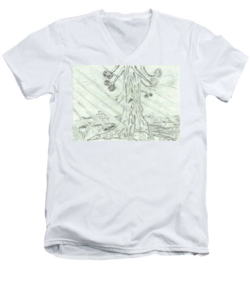 Men's V-Neck T-Shirt featuring the drawing The Old Tree In Spring Light  - Sketch by Felicia Tica