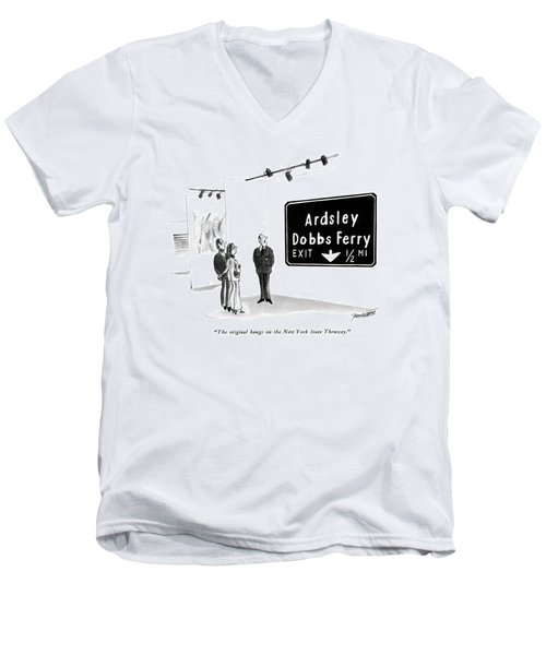The Original Hangs On The New York State Thruway Men's V-Neck T-Shirt