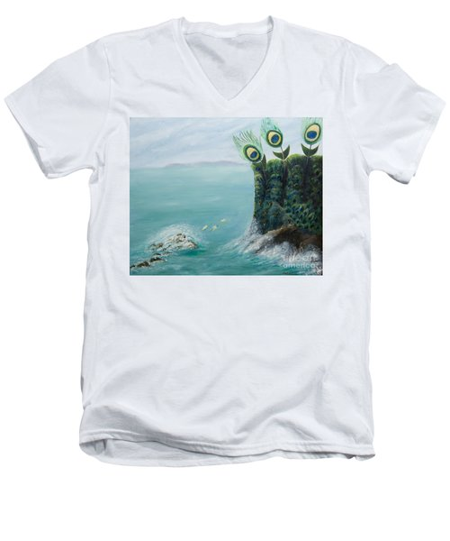 The Peacock Cliffs Men's V-Neck T-Shirt