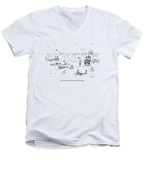 The Pilgrims Arrive At A Native American Beach Men's V-Neck T-Shirt