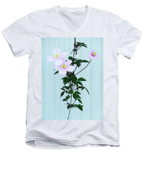 The Pink Clematis Men's V-Neck T-Shirt