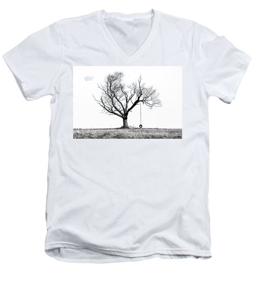 Men's V-Neck T-Shirt featuring the photograph The Playmate - Old Tree And Tire Swing On An Open Field by Gary Heller