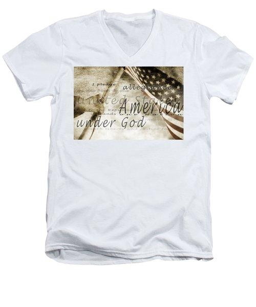 The Pledge Of Allegiance And An Men's V-Neck T-Shirt