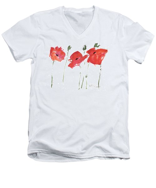The Poppy Ladies Men's V-Neck T-Shirt by Kathleen McElwaine