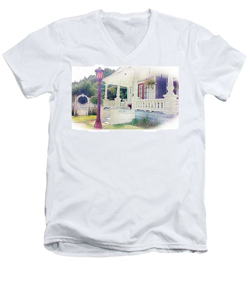 The Porch Lamp Post And The Gate Men's V-Neck T-Shirt by Becky Lupe