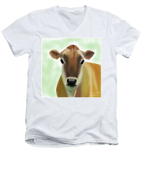 The Pretty Jersey Cow  Men's V-Neck T-Shirt