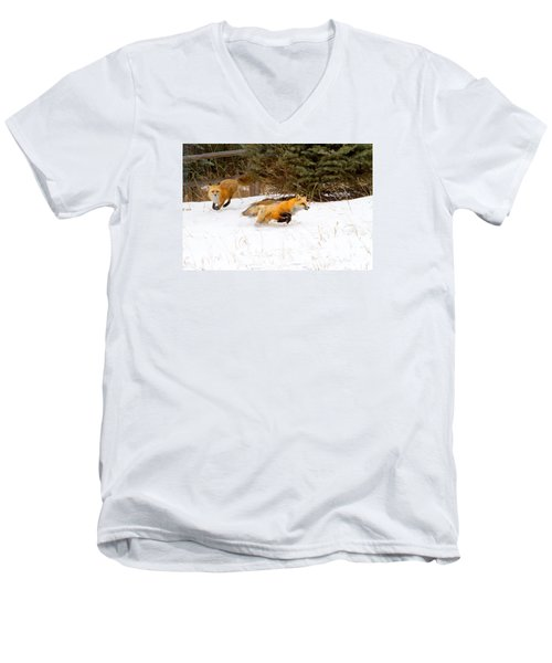 The Race Is On Men's V-Neck T-Shirt by Jim Garrison