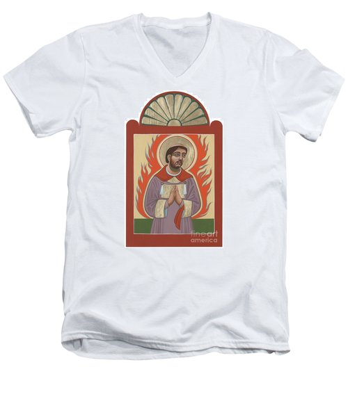 Men's V-Neck T-Shirt featuring the painting The Retablo Of San Lorenzo Del Fuego 253 by William Hart McNichols