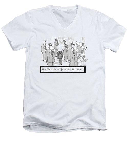 The Return Of Guarded Optimism Men's V-Neck T-Shirt