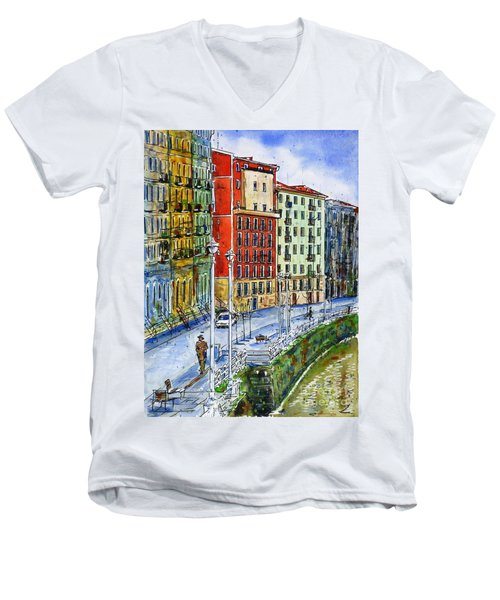 The Riverside Houses At Bilbao La Vieja Men's V-Neck T-Shirt