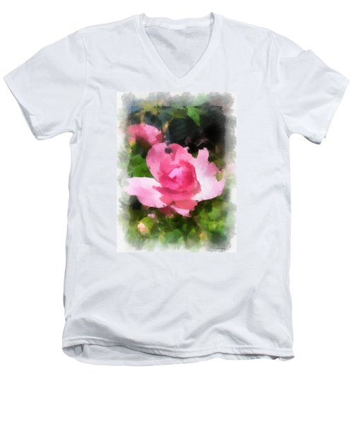 Men's V-Neck T-Shirt featuring the photograph The Rose by Kerri Farley