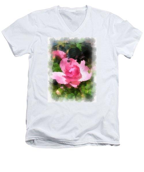 The Rose Men's V-Neck T-Shirt by Kerri Farley