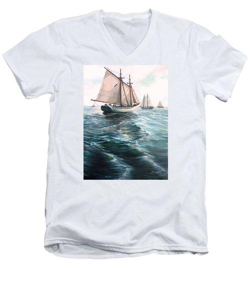 The Schooners Men's V-Neck T-Shirt by Eileen Patten Oliver