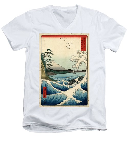 The Sea At Satta In Suruga Province Men's V-Neck T-Shirt
