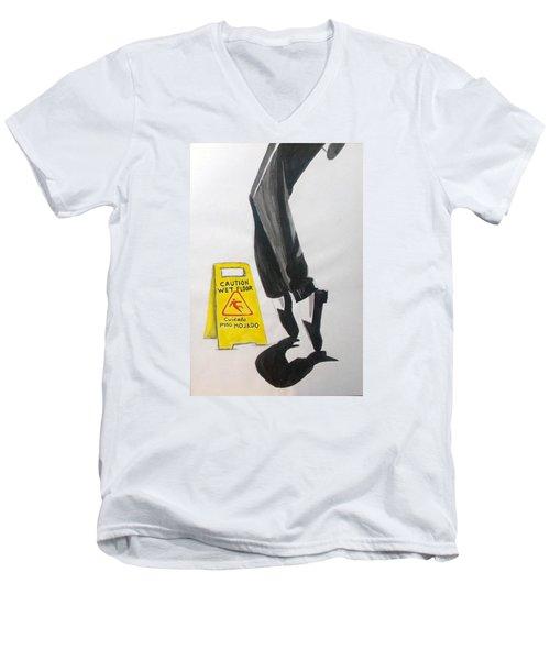 Men's V-Neck T-Shirt featuring the painting The Secret El Secreto by Lazaro Hurtado