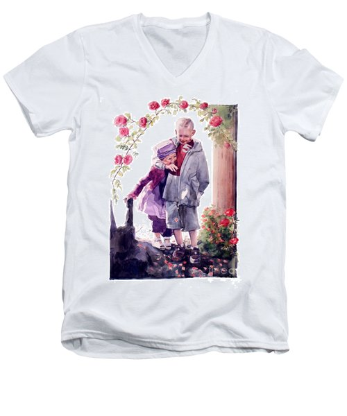 Watercolor Of A Boy And Girl In Their Secret Garden Men's V-Neck T-Shirt