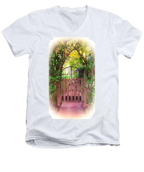 The Secret Gardens Gate Men's V-Neck T-Shirt by Becky Lupe