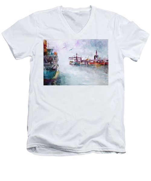 Men's V-Neck T-Shirt featuring the painting The Ship At Harbor Entrance by Faruk Koksal