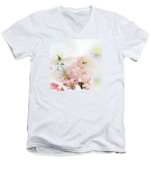 The Silent World Of A Butterfly Men's V-Neck T-Shirt by Morag Bates