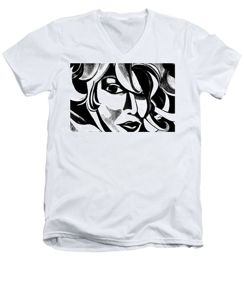 Black And White Abstract Woman Face Art Men's V-Neck T-Shirt